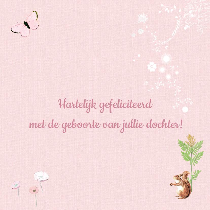 Felicitatiekaart geboorte hertje roze 3