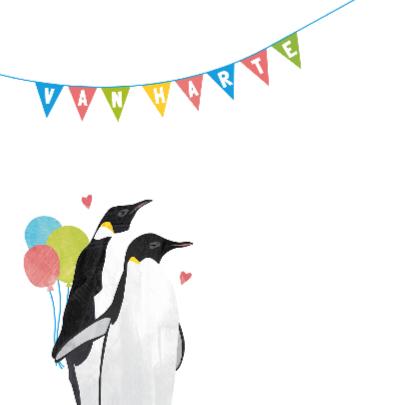 Felicitatiekaart geboorte jongen - pinguin 2