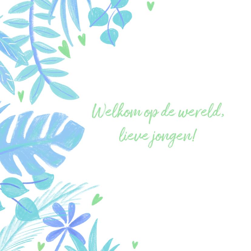 Felicitatiekaart geboorte planten blauw 2