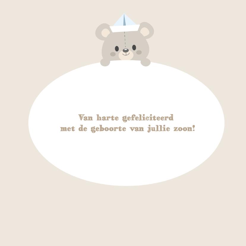 Felicitatiekaart geboorte zoon beer 3