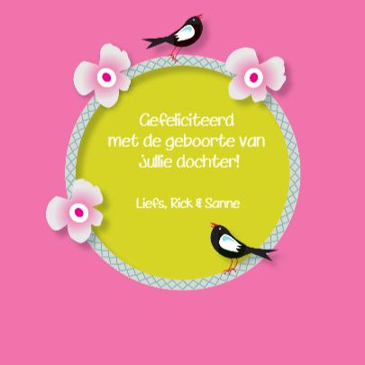 Felicitatiekaart Hertje Vogels Zoet en Stoer en Roze 3
