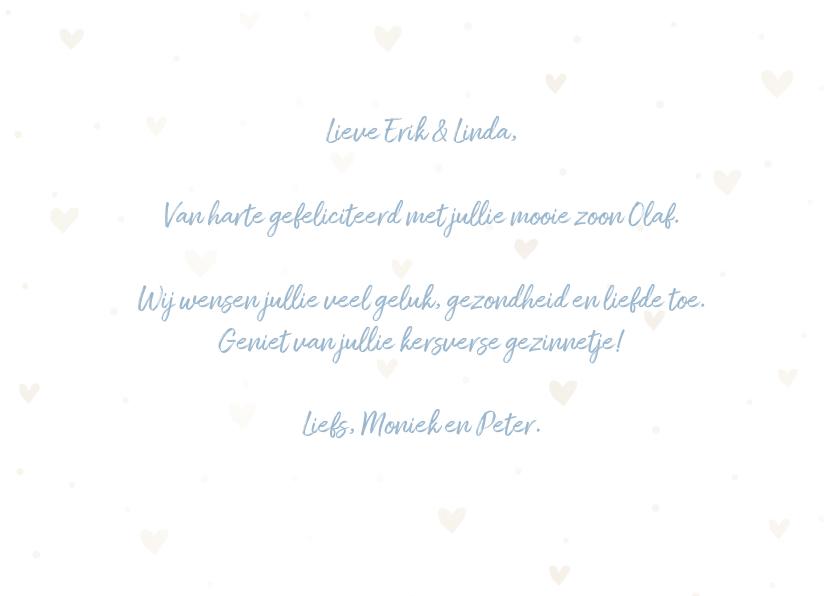 Felicitatiekaart 'Hoera een jongen' met hartjes en waterverf 3