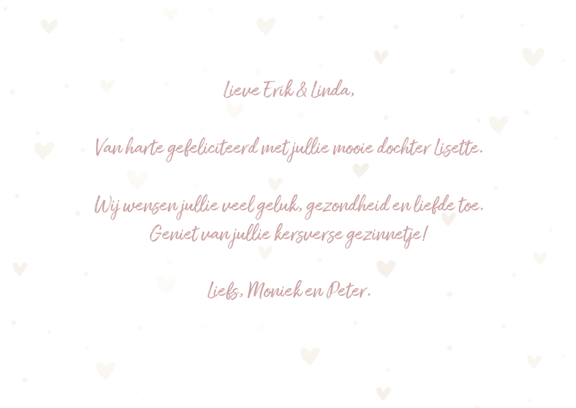 Felicitatiekaart 'Hoera een meisje' met hartjes en waterverf 3