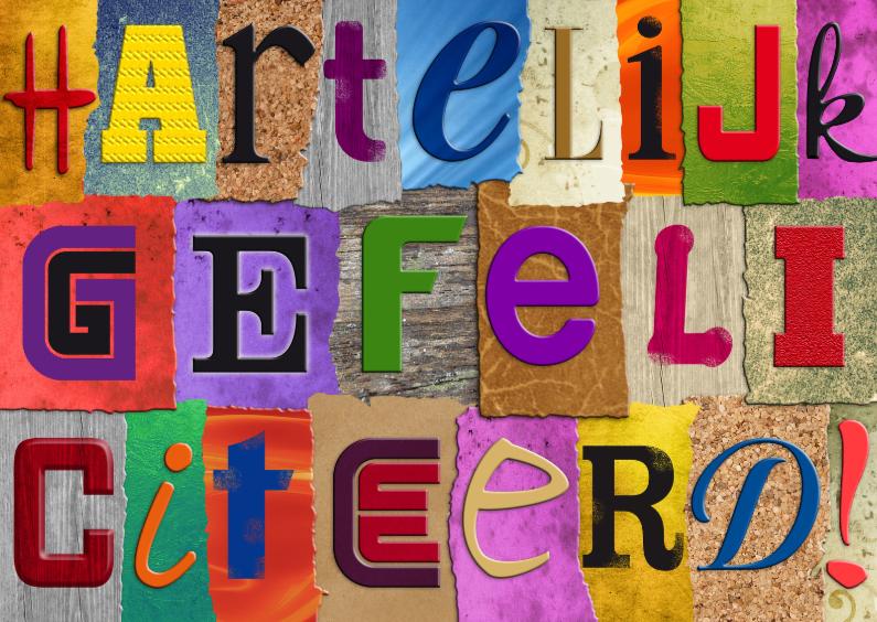letters gefeliciteerd Felicitatiekaart met losse letters HARTELIJK   Kaartje2go letters gefeliciteerd