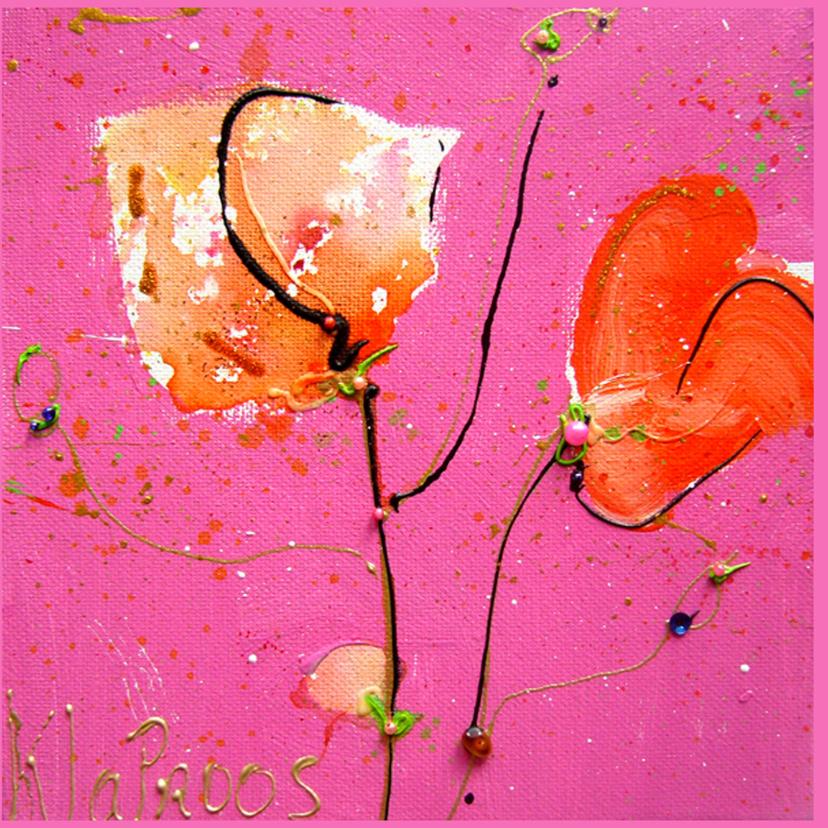 Felicitatiekaart roze  klaprozen 2