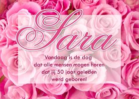 Verjaardagskaarten - Felicitatiekaart Sara met rozen