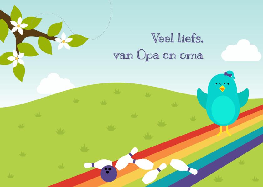 Felicitatiekaart voor kind met vogeltje op bowlingbaan 3