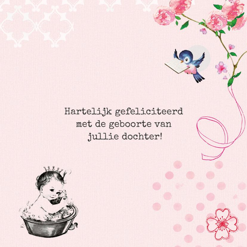 Felicitatiekaartje geboorte met baby prinsesje in bad 3