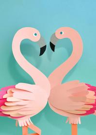 Valentijnskaarten - Flamingo's valentijn