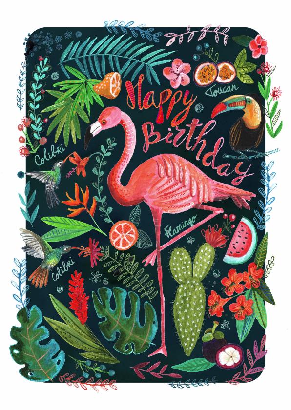 Flamingo trendy verjaardagskaart