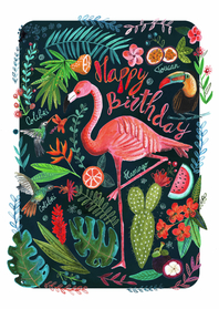 Verjaardagskaarten - Flamingo trendy verjaardagskaart