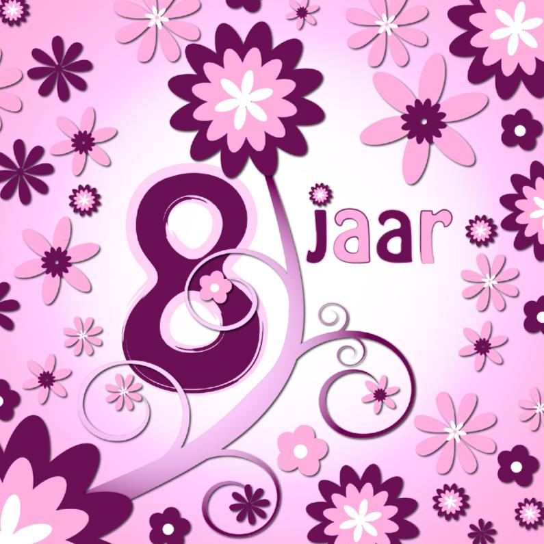 Flowerpower 3 8 Jaar Verjaardagskaarten Kaartje2go