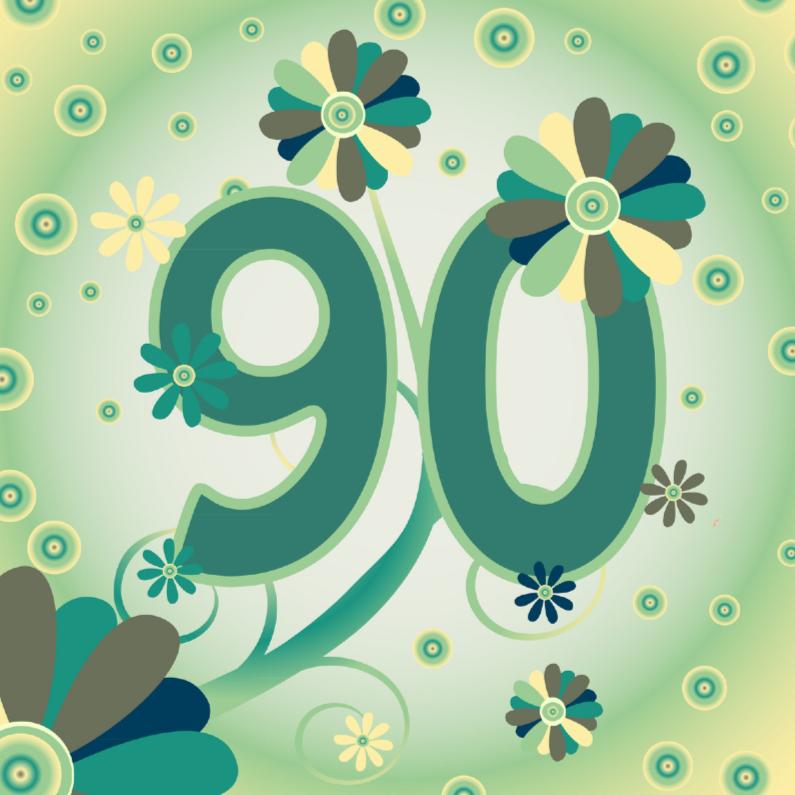 90 jaar flowerpower2 90 jaar   Verjaardagskaarten   Kaartje2go 90 jaar