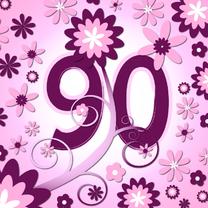 Verjaardagskaarten - flowerpower3 - 90 jaar