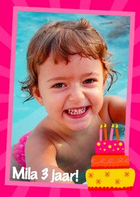Kinderfeestjes - Fotokader Taart Roze