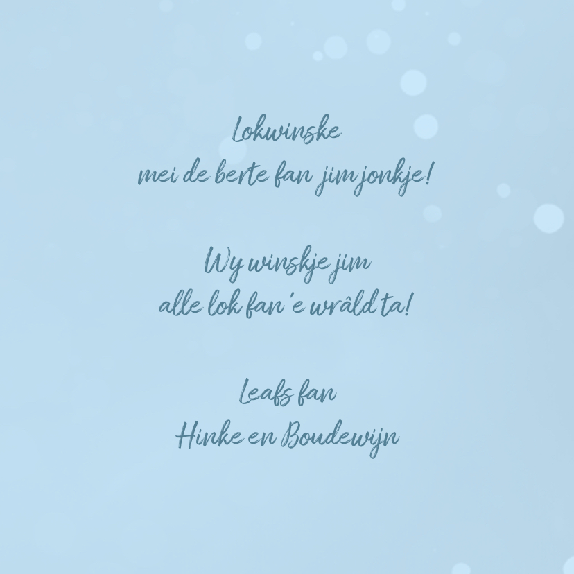 Fryske felicitatie kaart geboorte jongen 3