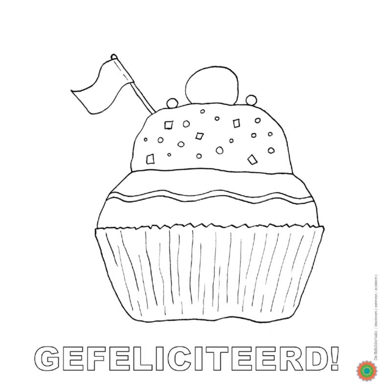 Gebakje Voor Je Verjaardag Kleurplaat Kaarten Kaartje2go