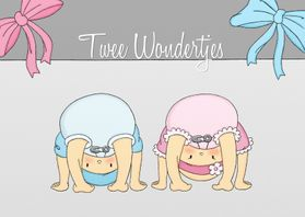 Geboortekaartjes - Geboorte 2 Wondertjes JM - TbJ
