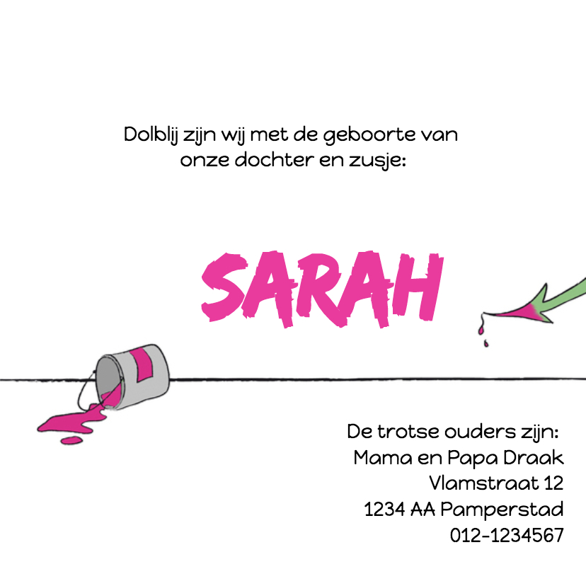Geboorte Draakje met roze strik 3