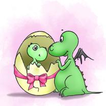 Geboortekaartjes - Geboorte Draakje met roze strik
