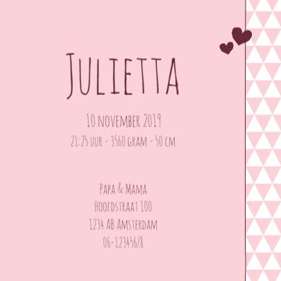 Geboorte  Driehoekjes roze, hart 3