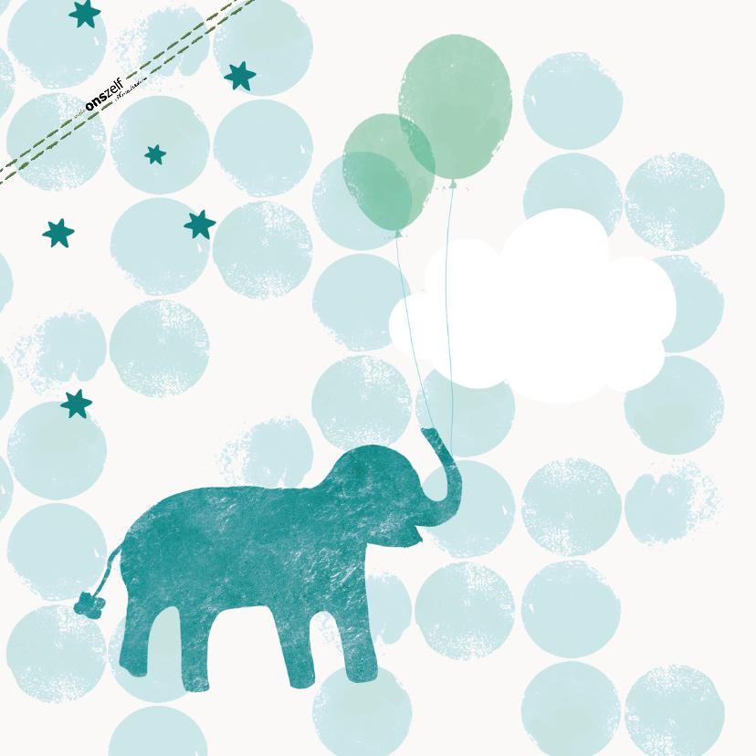 Geboorte Felicitatiekaartje olifant met ballonnen blauw 2
