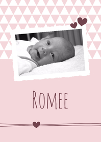Geboortekaartjes - Geboorte - Foto, roze driehoek