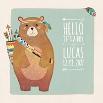 Geboortekaartjes - Geboorte indiaan beer - BK