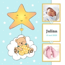 Geboortekaartjes - Geboorte jongen beer in wolk IH