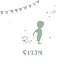 Geboortekaartjes - Geboorte jongen legergroen silhouet Stijn - MW