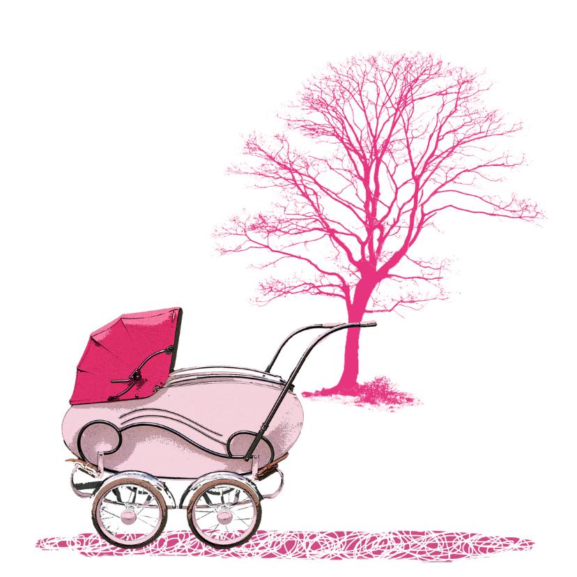 Geboorte kinderwagen roze - HR 2