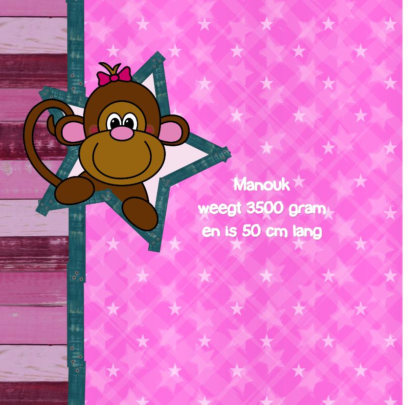 Geboorte lief aapje hout roze 2