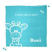 Geboortekaartjes - Geboorte lief giraffe blauw