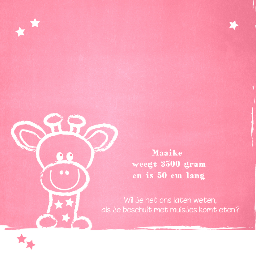 Geboorte lief girafje roze krijt 2