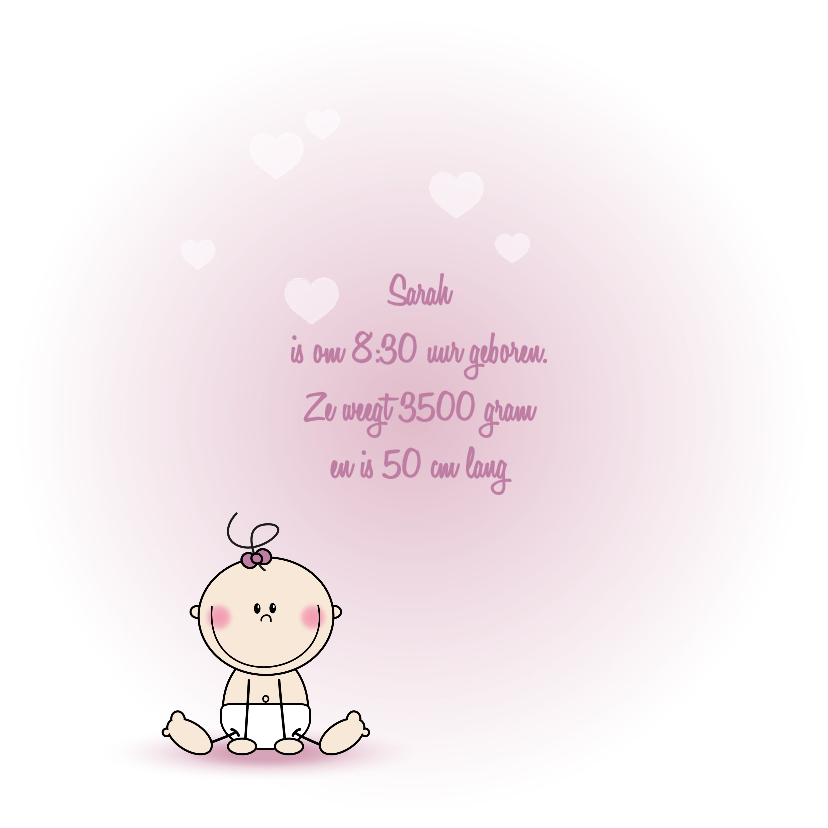 Geboorte lief roze meisje hart 2