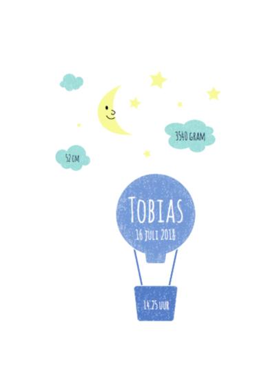 Geboorte luchtballon blauw 2