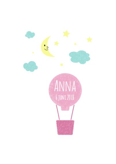 Geboorte luchtballon roze 2