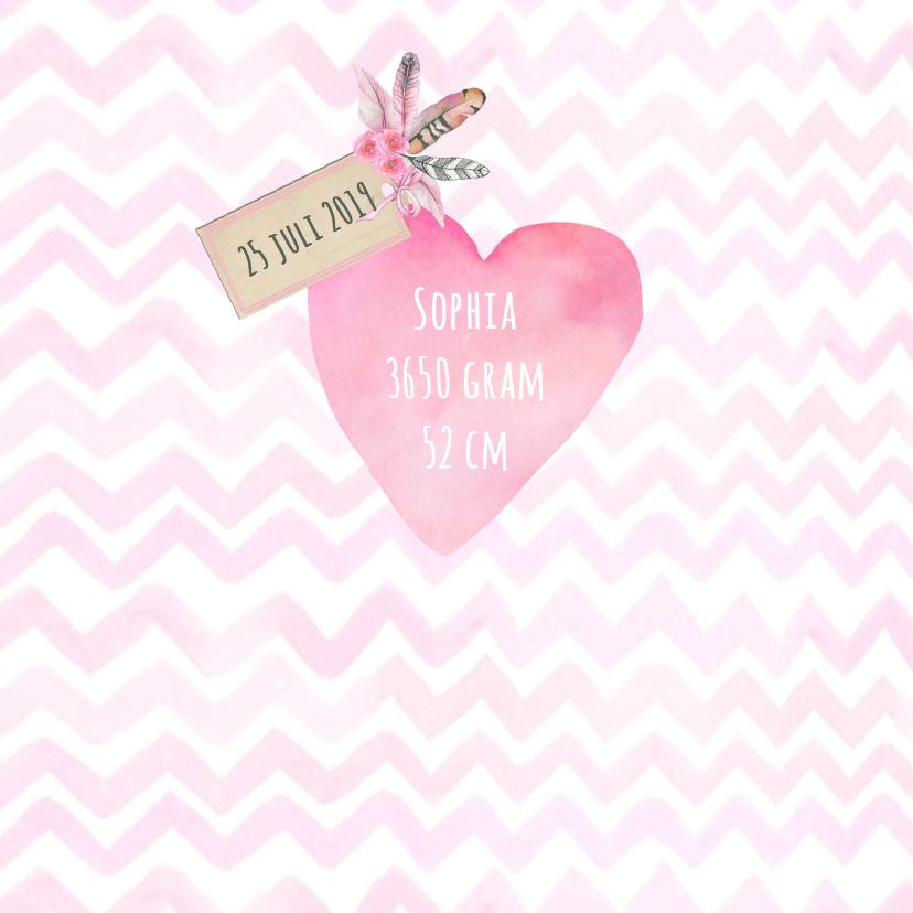 Geboorte meisje hart veren 2