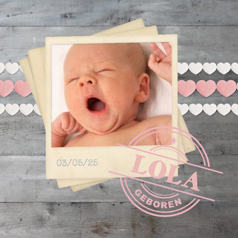 Geboorte meisje hartjes polaroid 2