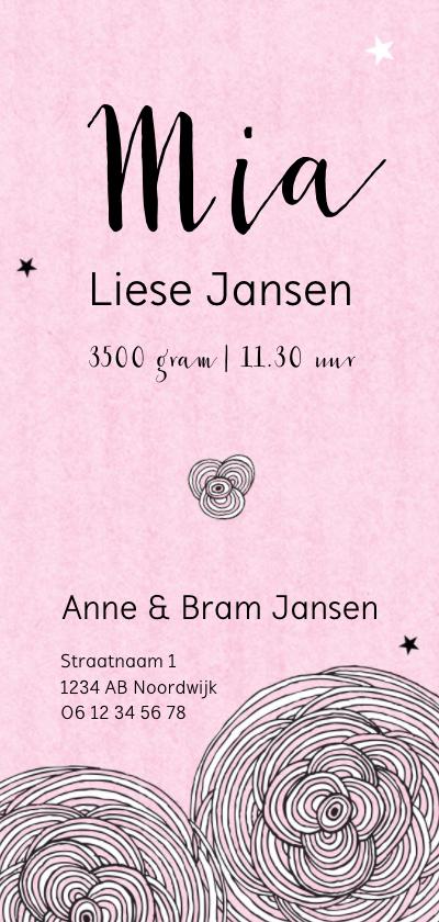 Geboorte meisje kader bloemen sterren roze - MW achterkant