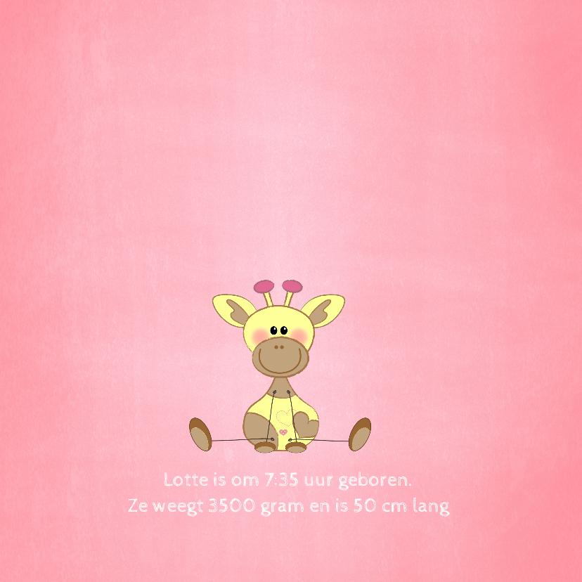 Geboorte meisje lief roze met girafje en sterren 2