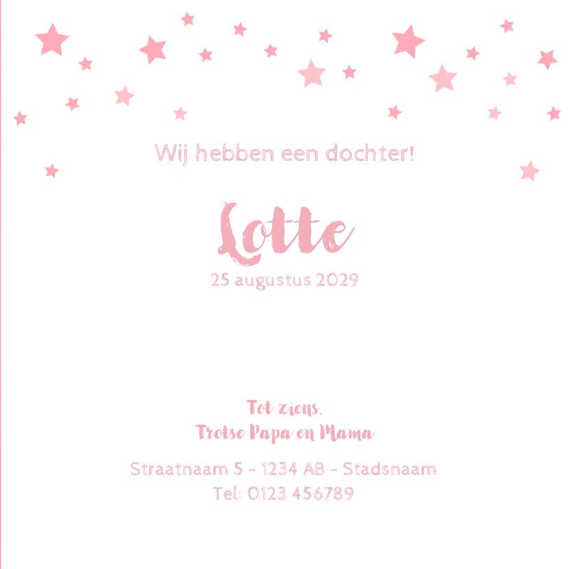 Geboorte meisje lief roze met girafje en sterren 3