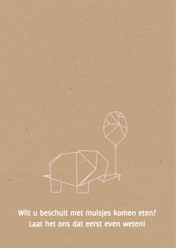 Geboorte- Meisje origami olifant 2