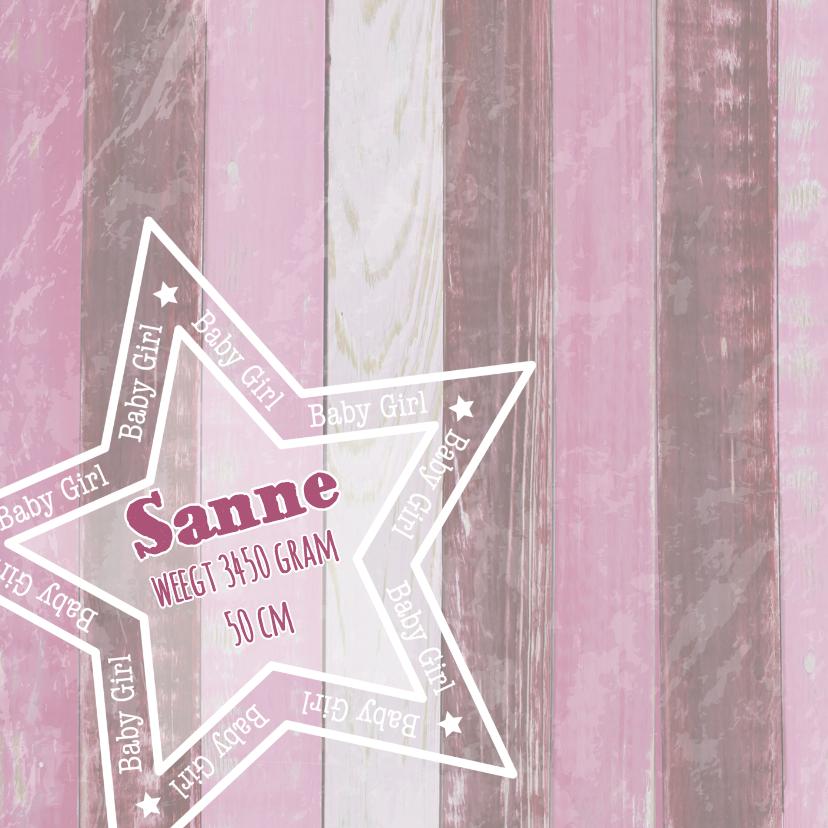 geboorte meisje roze hout ster 2