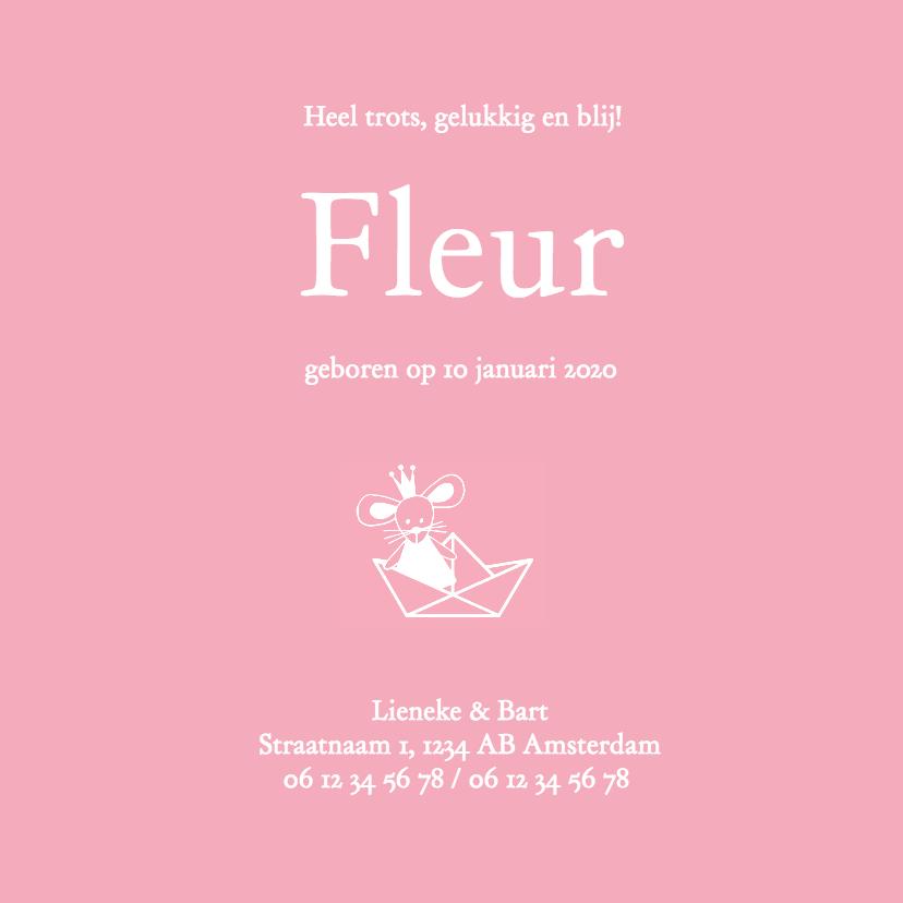 Geboorte meisje roze silhouet Fleur - MW 3