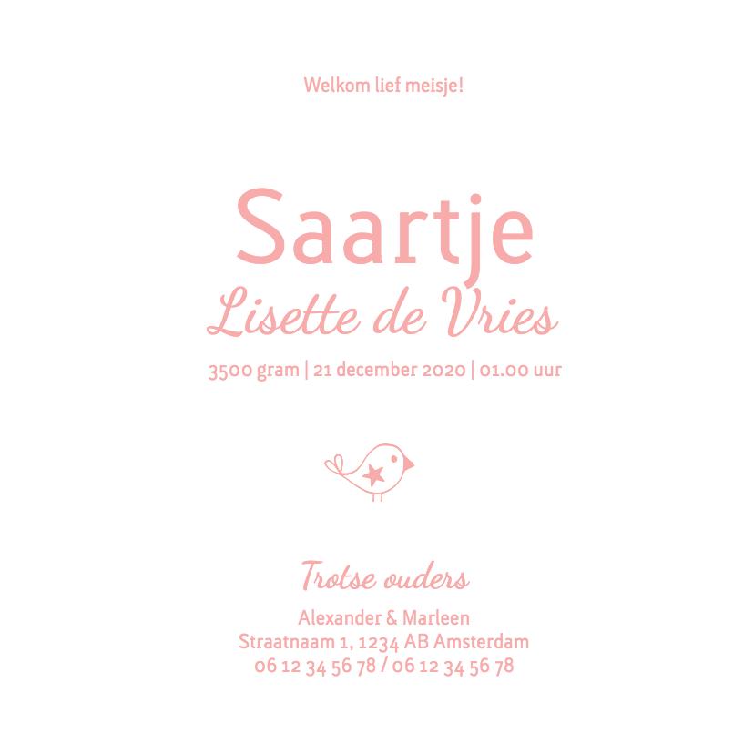 Geboorte meisje roze silhouet Saartje - MW 3