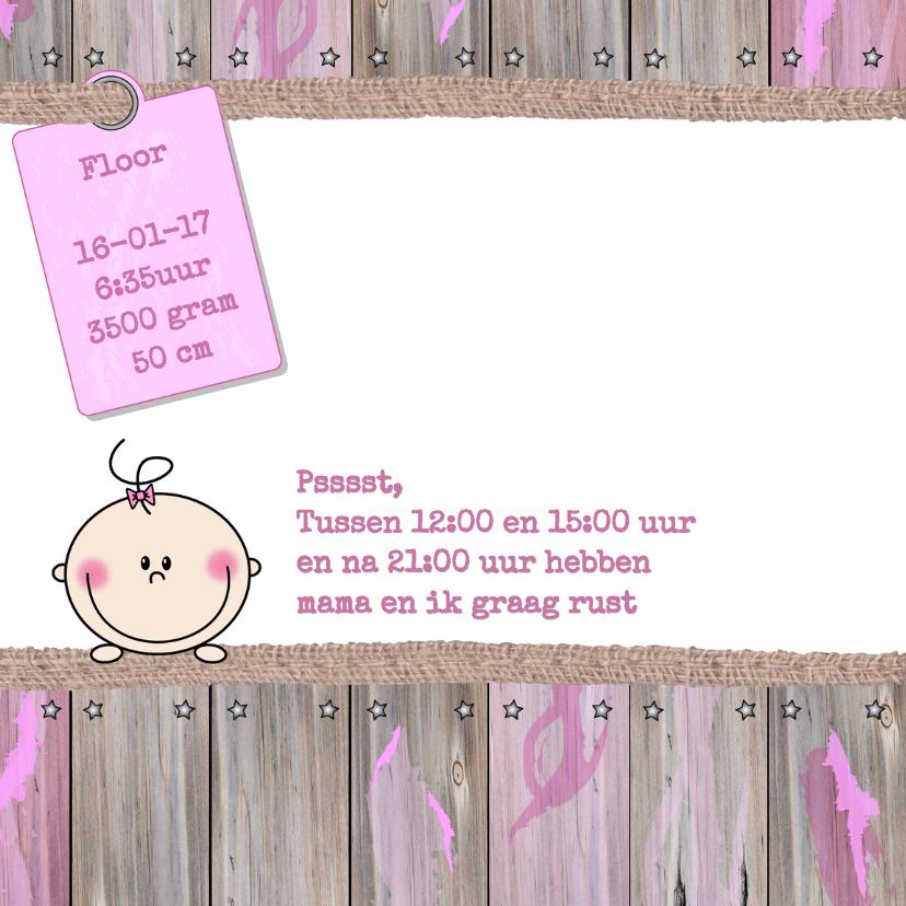 Geboorte meisje ster hout roze 2