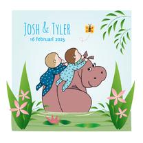 Geboortekaartjes - Geboorte Nijlpaard tweeling boys