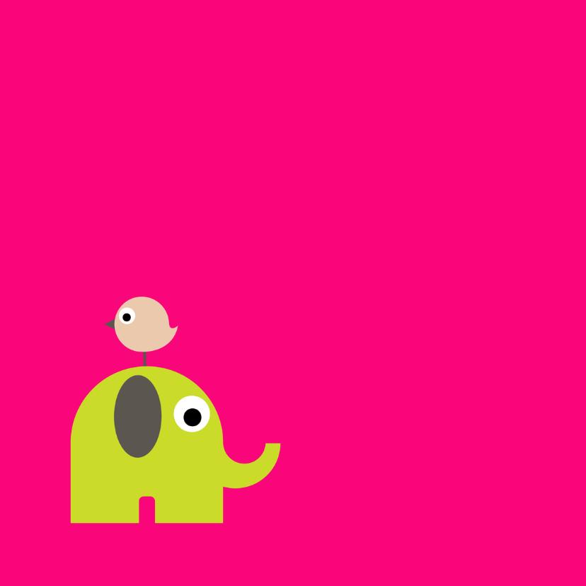 Geboorte Olifant Vogel Roze 2