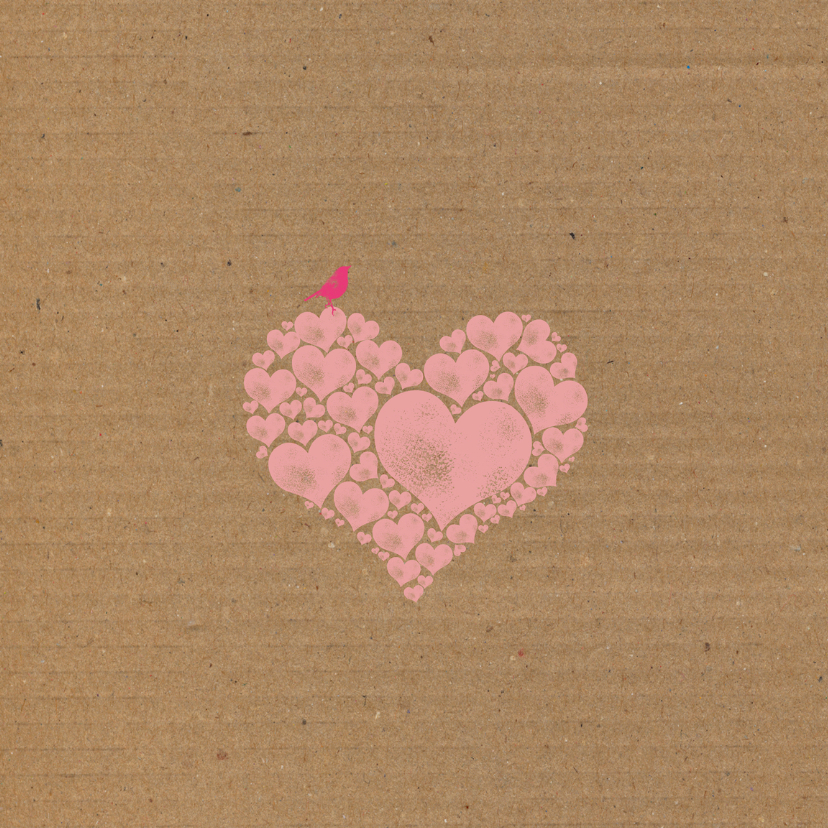 Geboorte roze harten karton  2